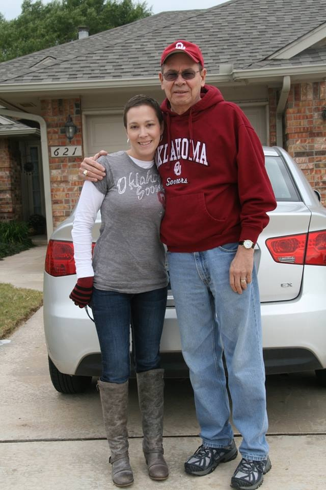 Jenny and her father, Bill, on their way to see an OU football game on Oct. 26, 2013.
