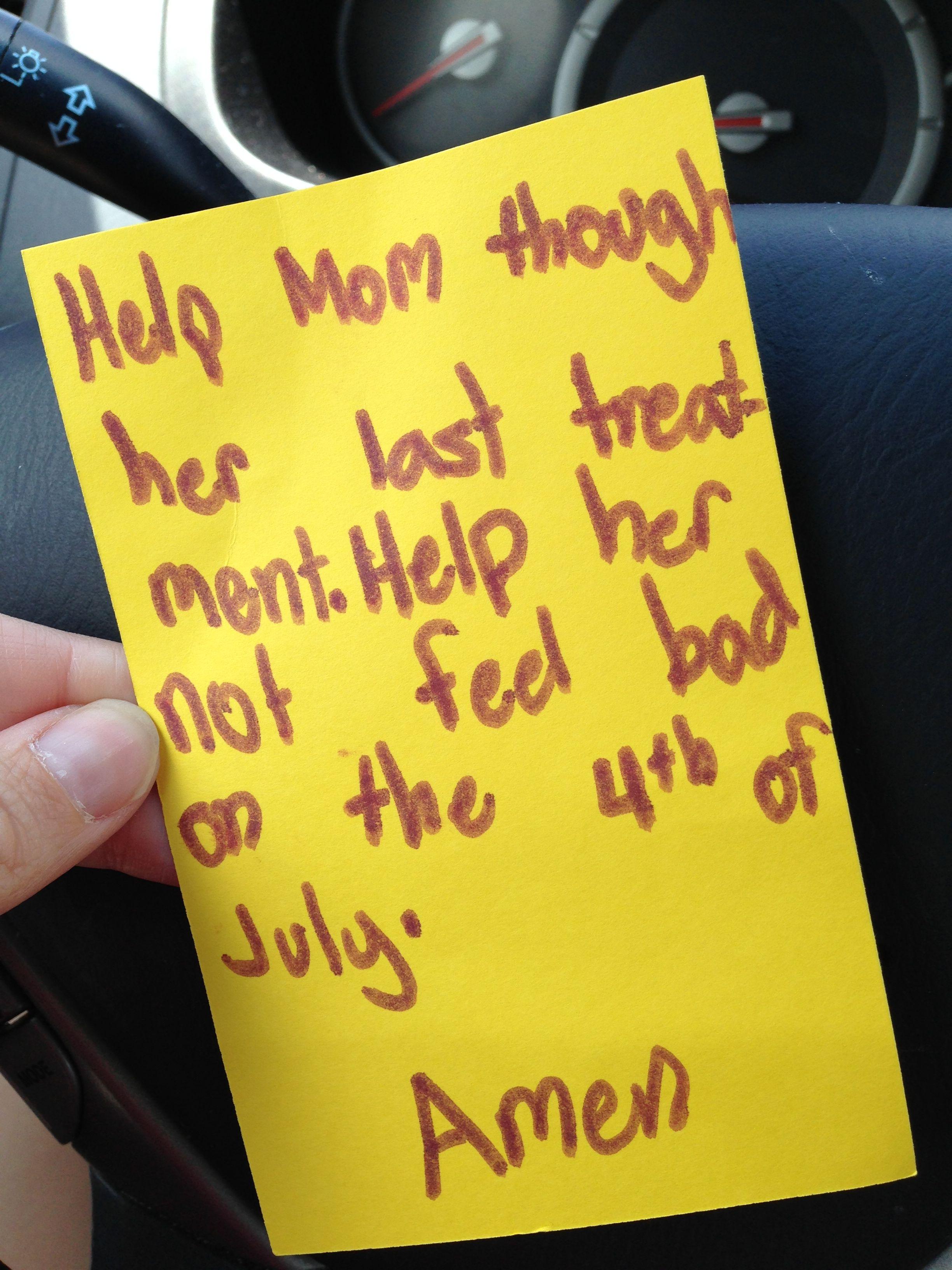 Tyler made this prayer card at church.