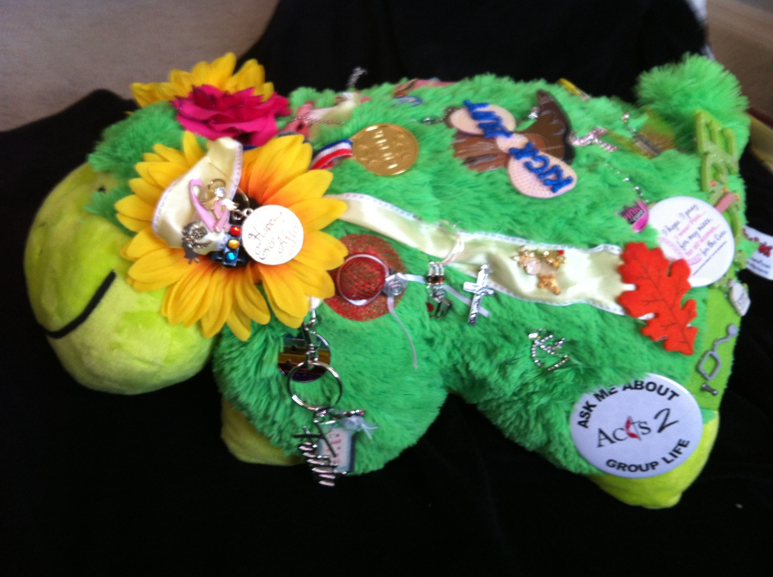 Prayer pillow with pins from so many of you - each with its own meaning. I will always treasure this thing.
